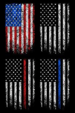 Grunge usa, police, firefighter flag vector design.