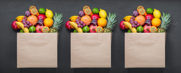 Paper bag with fruits. Concept grocery shopping, sale, promotion. Fresh Eco Products, Healthy Products Fotobehang