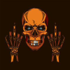Original vector illustration in vintage style. Skull with eyes with two hands with the middle finger extended. T-shirt design