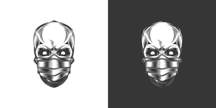 Original monochrome vector illustration in retro style of a human skull in a medical mask.