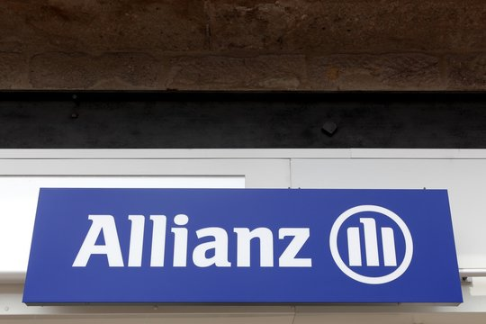 Firminy, France - August 17, 2016: Allianz sign on a wall. Allianz is a European financial services company headquartered in Munich, Germany