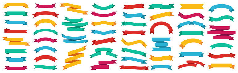 Different ribbons banners collection. Vector illustration Fototapete