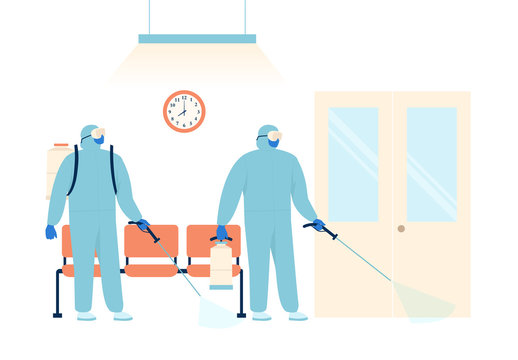 Workers in protective special clothing and medical mask sprays disinfectant for preventive against the spread of the COVID-19 the novel coronavirus in the hospital. Vector illustration.