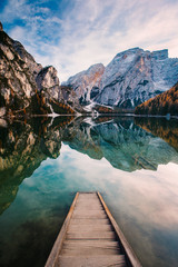 Wall Murals Salmon Amazing view of Lago di Braies (Pragser Wildsee), most beautiful lake in South Tirol, Dolomites mountains, Italy. Popular tourist attraction. Beautiful Europe.