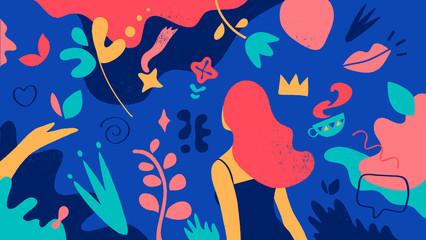Fototapeta Motivo floreale del mondo femminile. Una ragazza in un giardino fiorito obraz