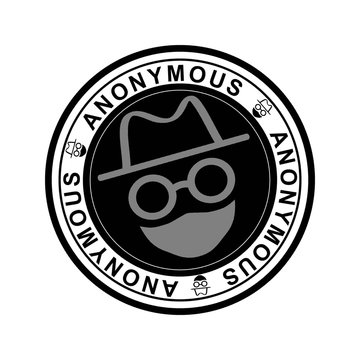 Round black rubber stamp with the word anonymous