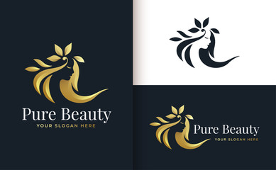 woman hair salon gold gradient logo design