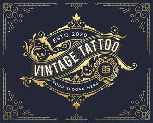 golden vintage badge logo design with flourish ornament