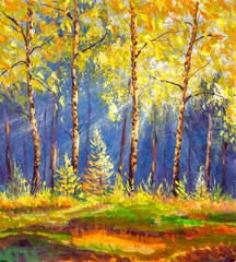 Fotorollo Gelb Oil fine art Landscape painting showing wild autumn trees in forest lit by the early morning sun background warm nature artwork