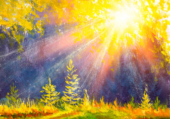 Sunset forest landscape. Watercolor painting. Hand drawn outdoor illustration. Nature background, watercolor composition. Park, trees, sun rays. Painted backdrop.