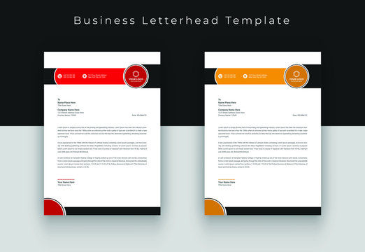 Letterhead template with various colors, letterhead template in flat style, letterhead set or bundle