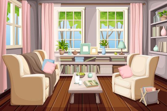 Vector cozy spring living room interior.