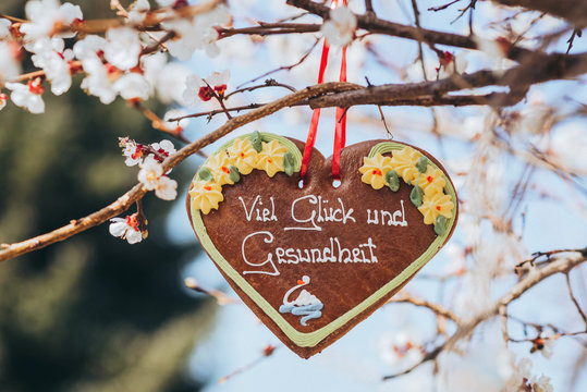 Traditional gingerbread heart with text luck and healt, taken in Austria