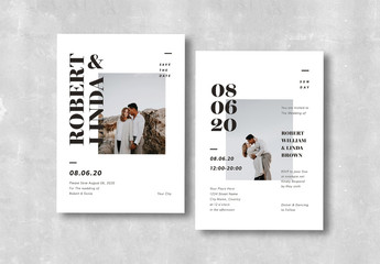 Black and White Wedding Invitation Layout