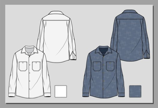 Workwear vintage shirt sketch. Denim Shirt with seamless retro pattern. Dark blue wash . Fashion flat illustration.