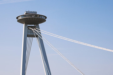 SNP bridge's pylon and UFO tower of Bridge of the Slovak National Uprising, Bratislava, Slovakia
