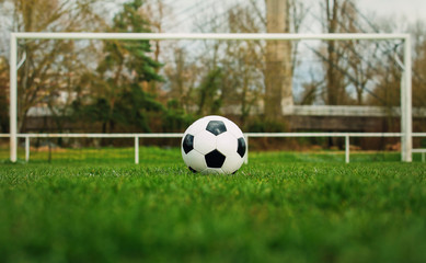 Typical soccer ball on the free kick marking line in front of stadium gate. Traditional football ball on the green grass turf before goal.