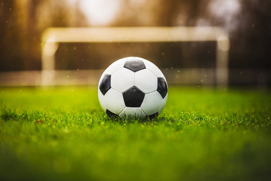 Classic soccer ball in sunset  with typical black and white pattern, placed on stadium turf. Traditional football ball on the green grass lawn with copy space.