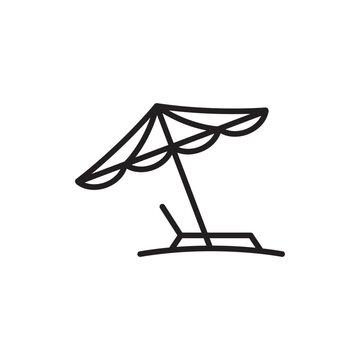 beach umbrella icon in trendy flat style