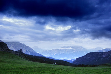 Wall Mural - Alpine landscape of Cristallo Mountain, Dolomites, Italy