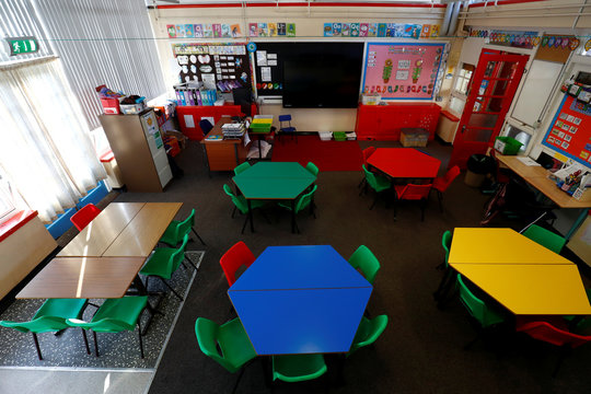General view of a empty classroom at Nettlefield Primary School as the majority of schools in the UK close while the spread of the coronavirus disease (COVID-19) continues