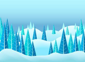Printed kitchen splashbacks Light blue Snowy winter landscape background design
