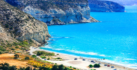 Wall Mural - Travel in Cyprus island  - beautiful impessive  beach Curium (Kourion)