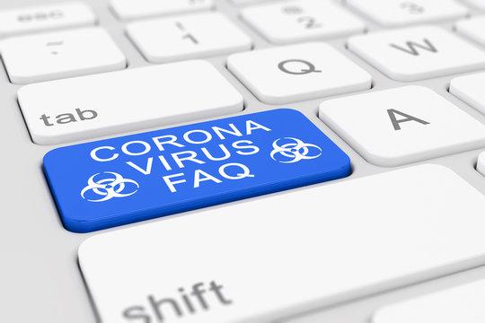 3d Illustation - Tastatur - Coronavirus - FAQ - Covid-19 - SARS-CoV-2
