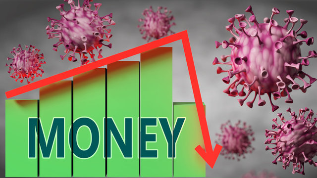 Money and Covid-19 virus, symbolized by viruses and a price chart falling down with word Money to picture relation between the virus and Money, 3d illustration