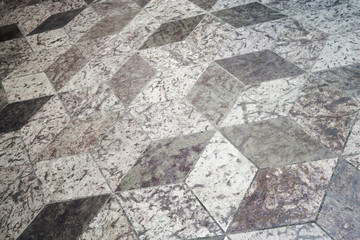 Fototapete - Old floor tiling with abstract cubic pattern