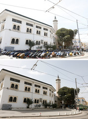 A combination picture shows people praying outside a mosque during Friday prayers March 13, 2020 and view of same site, now empty, as Friday prayers were suspended  to prevent the spread of coronavirus disease (COVID-19) in Tunis