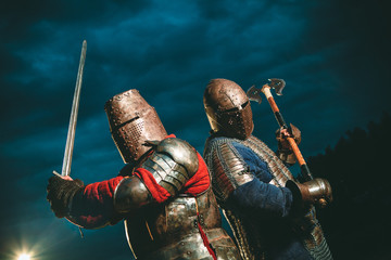Two Medieval knights armed with axe and sword. Fototapete