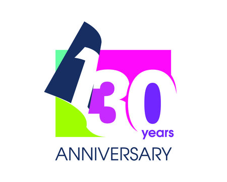 130 years anniversary colored logo isolated on a white background for the celebration of the company. Vector Illustration Design Template
