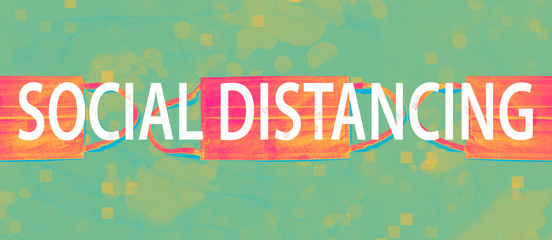 Social Distancing theme with face mask on a duo tone background