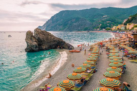 pebble beach Monterosso on vacation Cinque terre Monterosso al Mare pebble beach Cinque Terre, Italy