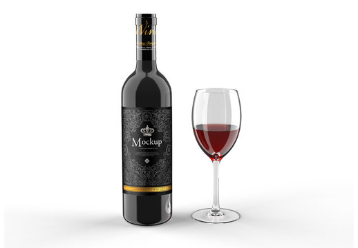 Wine and Glass Bottle Mockup