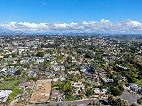 Aerial view of Solana Beach, coastal city in San Diego County, California. USA
