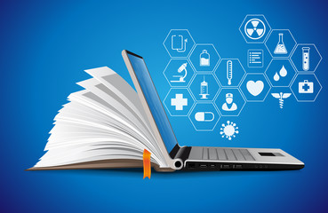 Healthcare knowledge base - medical online repository concept - elearning  - fototapety na wymiar