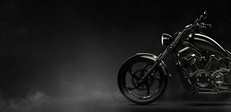 Black motorcycle on a dark background with smoke, side view (3D illustration)