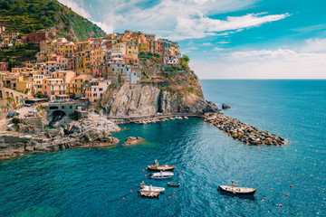 Manarola Village, Cinque Terre Coast Italy. Manarola is a beautiful small colorful town province of La Spezia, Liguria, north of Italy and one of the five Cinque terre national park