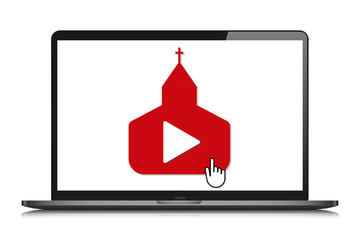 laptop mockup online church video streaming vector