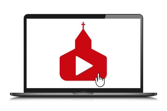 laptop mockup online church video streaming vector
