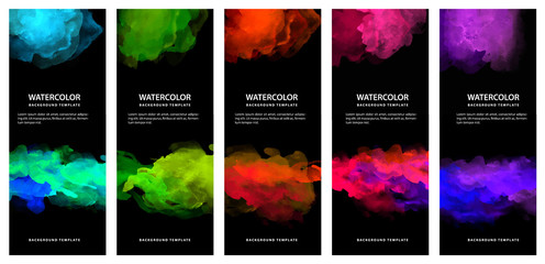 Fotobehang - Set of bright vector colorful watercolor on vertical black background for poster or flyer