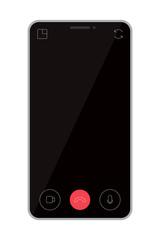 スマホアプリでテレビ電話/ビデオチャット。テレワーク/リモートワーク イメージ ベクター素材
