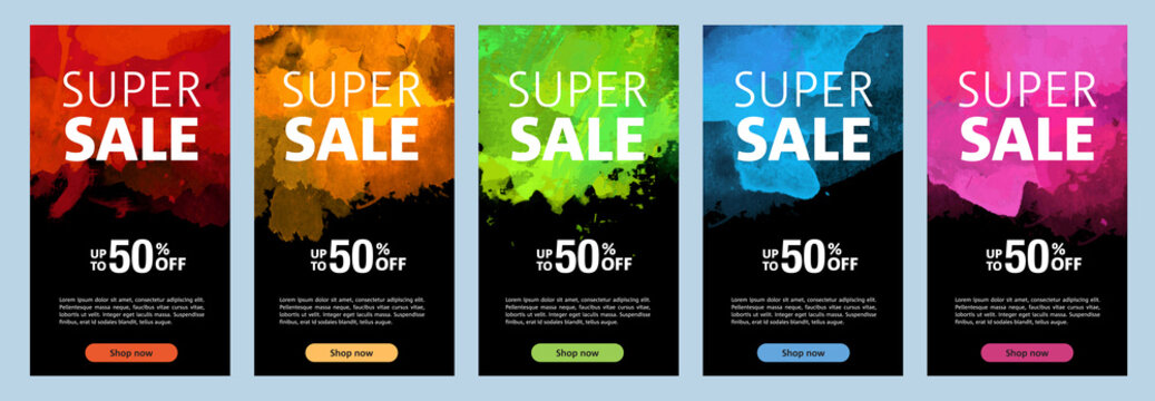 Watercolor background sale banners black design template set
