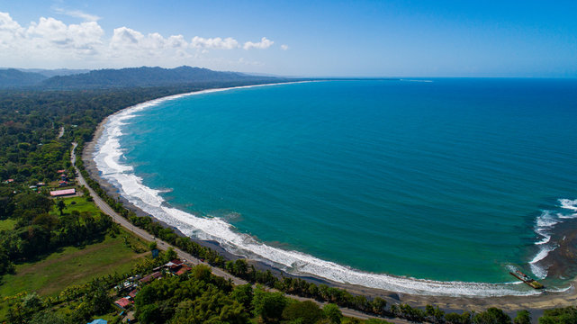 Aerial view to Playa Negra in Puerto Viejo at the Caribbean of Costa Rica