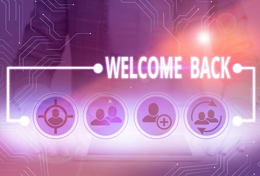 Conceptual hand writing showing Welcome Back. Concept meaning something back to greet the return of someone or something