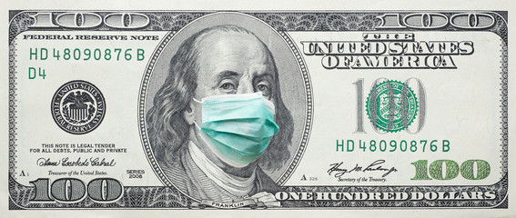 USA 100 dollar banknote with facemask.