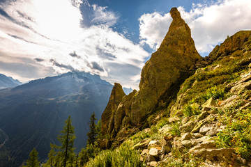 Fototapete - Huge rock cliff view Chamonix, France Alps.