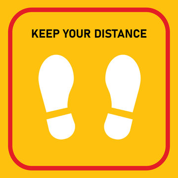 keep your distance sign footprint shoe shape avoid corona covid-19 infection through social distancing